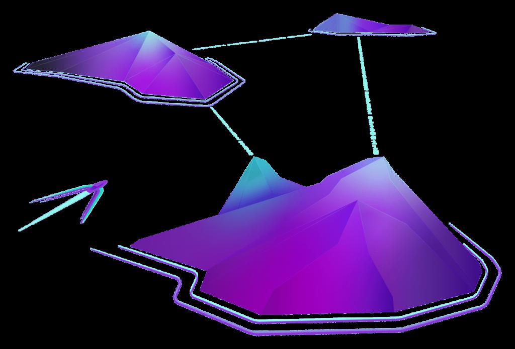Ocean missions hero image of purple data islands